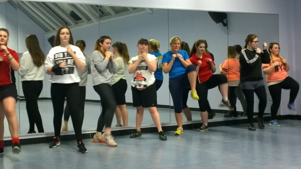 Young carers at a boxing class